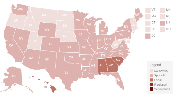 US Swine flu map