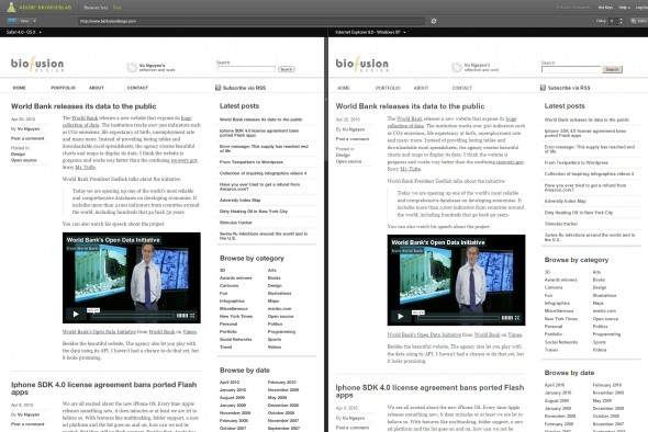 Adobe BrowserLab screenshot of biofusiondesign.com