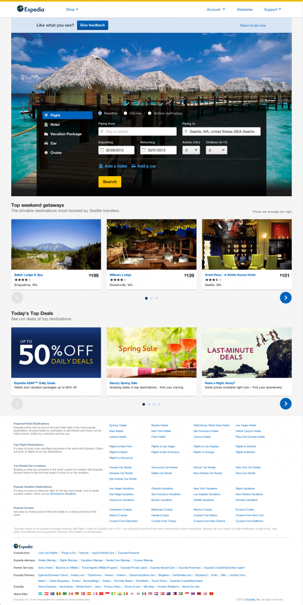 Expedia homepage redesign on desktop