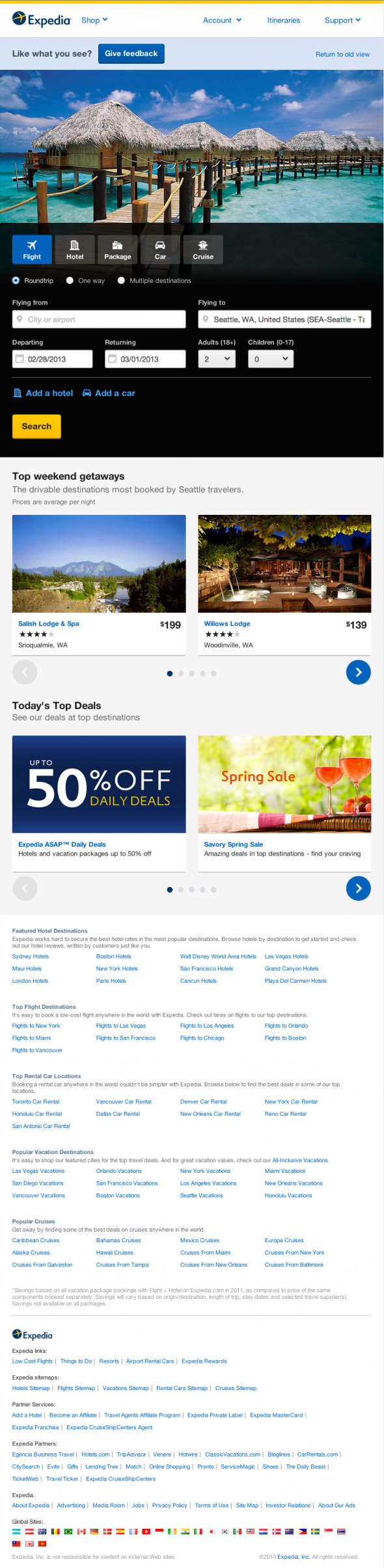 Expedia homepage redesign on tablet